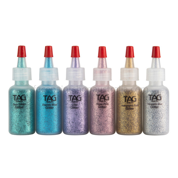PASTEL COLOURS Cosmetic Glitter Set of 6x 15ml bottles