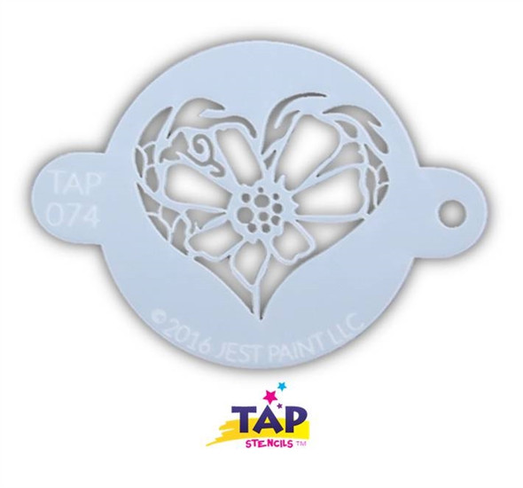 FLOWER HEART TAP 074 Face Painting Stencil