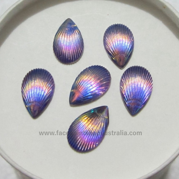 Opal-Purple Shells by Pro FX Gem-Gems  (approx 30 pieces) resin flatback gems 8x12mm
