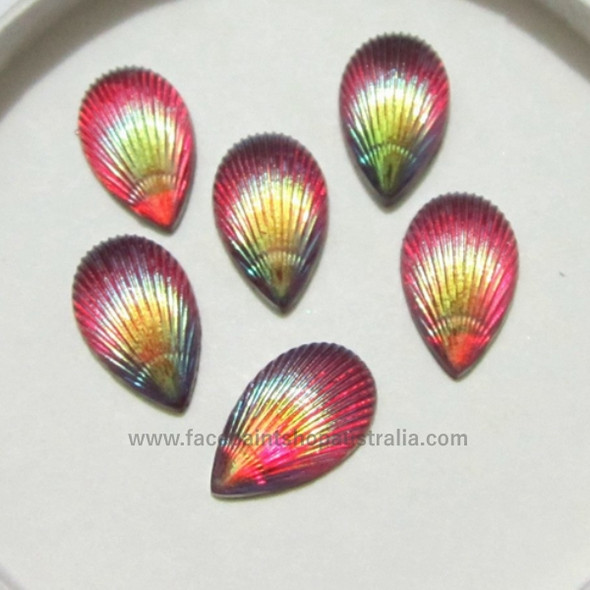 Opal-Fuchsia Shells by Pro FX Gem-Gems  (approx 30 pieces) resin flatback gems 8x12mm