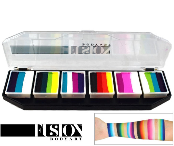 'Rainbow Burst' SPECTRUM PALETTE Fusion Body Art face paint 6x 10g mini cakes
