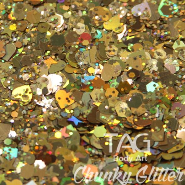 Gold chunky glitter TAG Body art