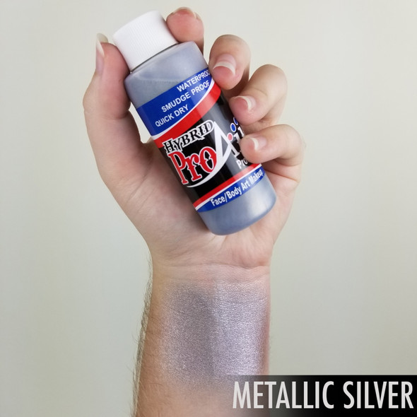 SILVER METALLIC ProAiir Hybrid Waterproof Liquid Face and Body Paint for Airbrush