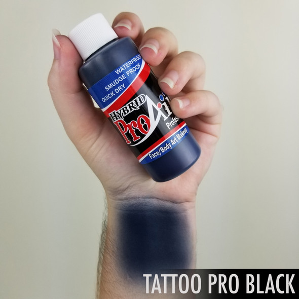 TATTOO PRO BLACK ProAiir Hybrid Waterproof Liquid Face and Body Paint for Airbrush