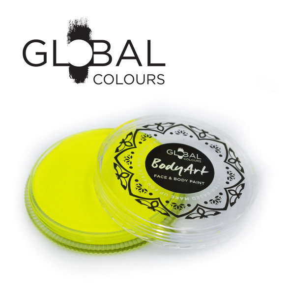 NEON UV YELLOW Face and Body Paint Makeup by Global Colours 32g *New Formula*