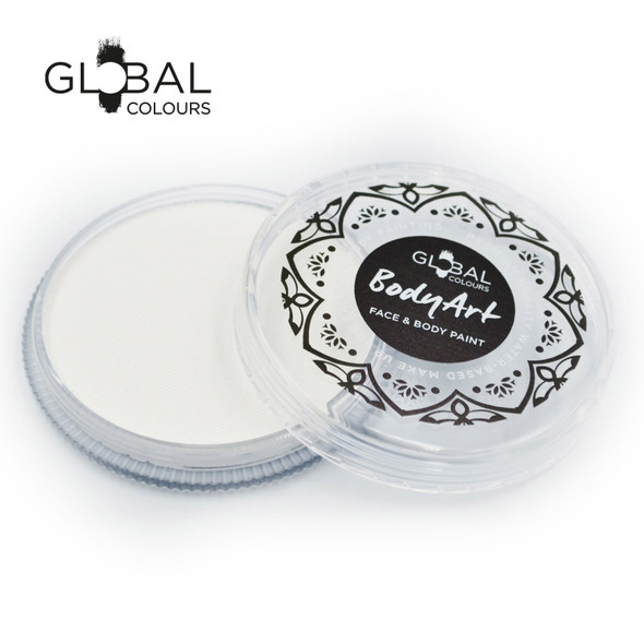 NEON UV WHITE Face and Body Paint Makeup by Global Colours 32g