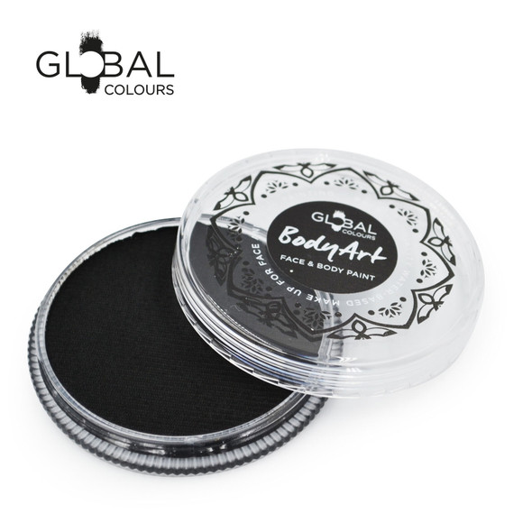 BLACK Face and Body Paint Makeup by Global Colours 32g