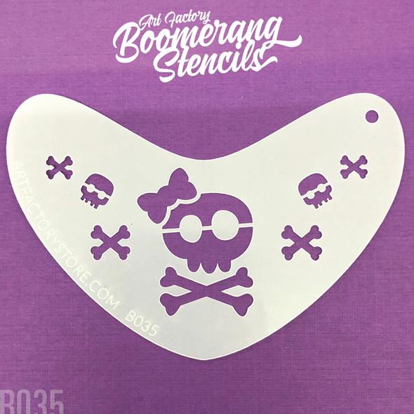SUGAR SKULL & CROSSBONES by Boomerang Face Painting Stencil [B035]