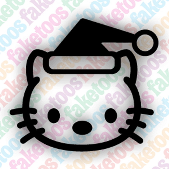 SANTA KITTY glitter tattoo stencils (x6) by Faketoos