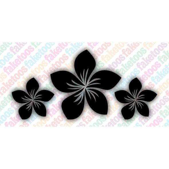 Faketoos glitter tattoo stencil 'Plumeria Trio' (x6)