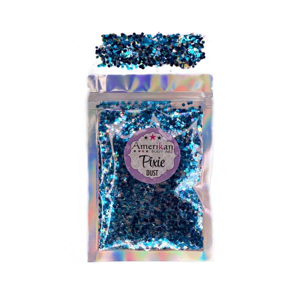 MIDNIGHT BLUE Pixie Dust Dry Loose Chunky Glitter Mix by Amerikan Body Art 28g net