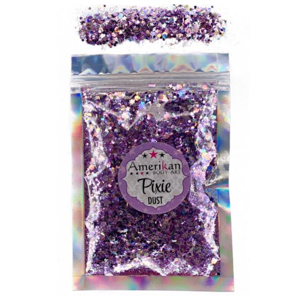 PURPLE RAIN Pixie Dust Dry Loose Chunky Glitter Mix by Amerikan Body Art 28g net