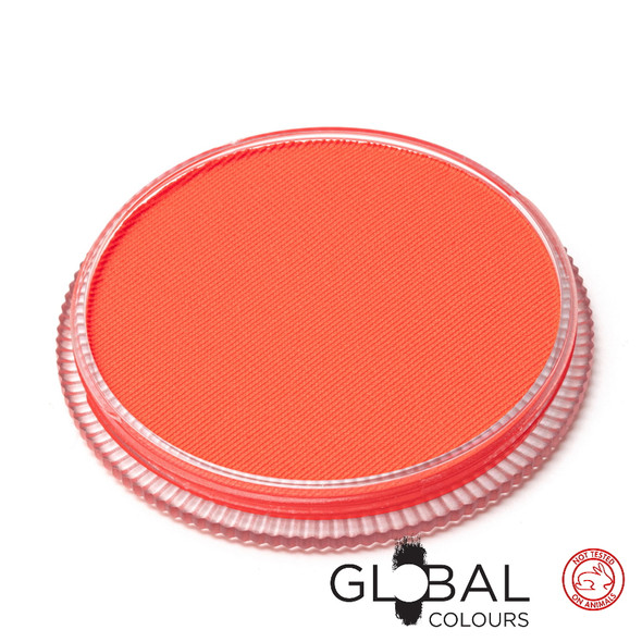 NEON UV CORAL RED Face and Body Paint Makeup by Global Colours 32g