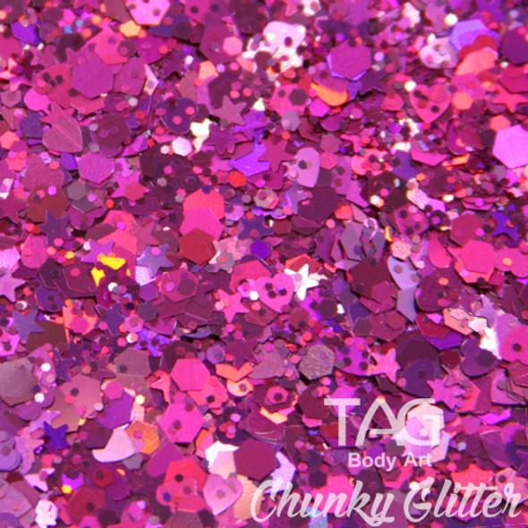Plum chunky glitter  TAG Body art