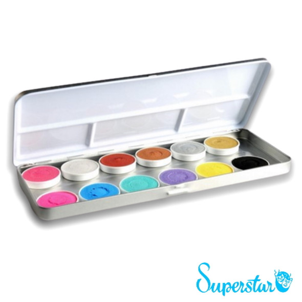 'Duo Shimmer' 12 Colour Face Paint Palette x 5g each by SUPERSTAR