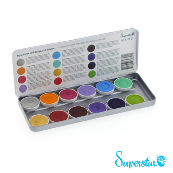 'Syllie Faces' by Syl Verberk 12 Colour Face Paint Palette x 5g each by SUPERSTAR