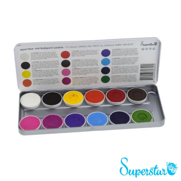 'Sparkling Faces' by Svetlana Keller 12 Colour Face Paint Palette x 5g each by SUPERSTAR