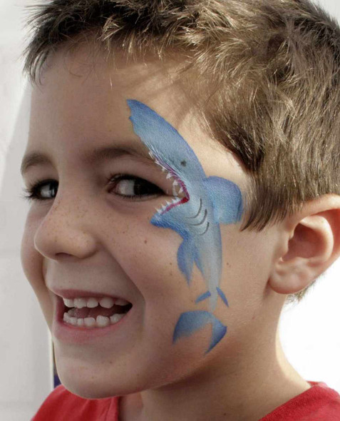 Face paint shark with TAG face paint one stroke dolphin