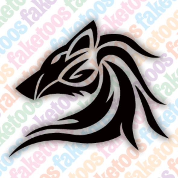 TRIBAL WOLF Glitter Tattoo Stencils (x6) by Faketoos