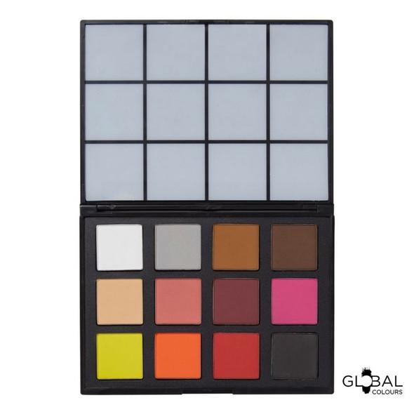Optillusions FX – 12 Colour Face & BodyArt Palette Global Colous Powder Compact Palette