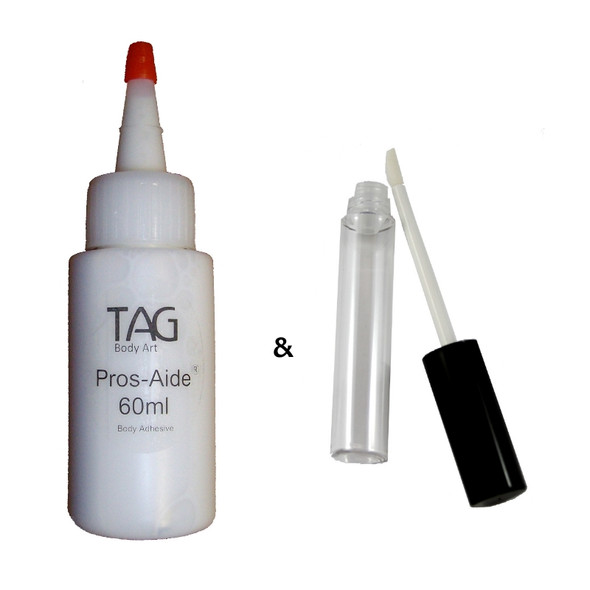 cosmetic adhesive glue for glitter tattoos and gems bulk 60ml refill with refillable applicator