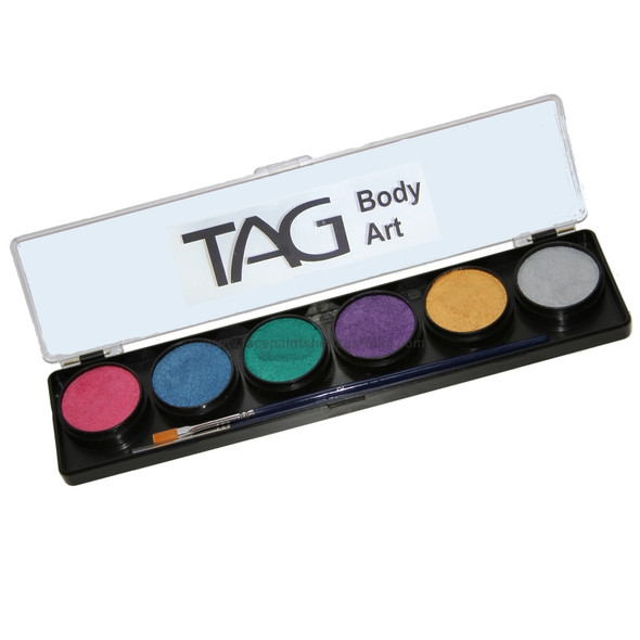 Tag professional face and body paint palette pearl x 6 colours