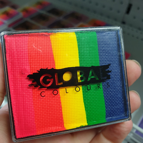 Global colours face paint australia neon rainbow 50g cake