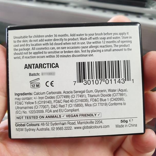 Global Colours face paint Australia 50g split cake Elsa Magic was Antarctica label ingredients