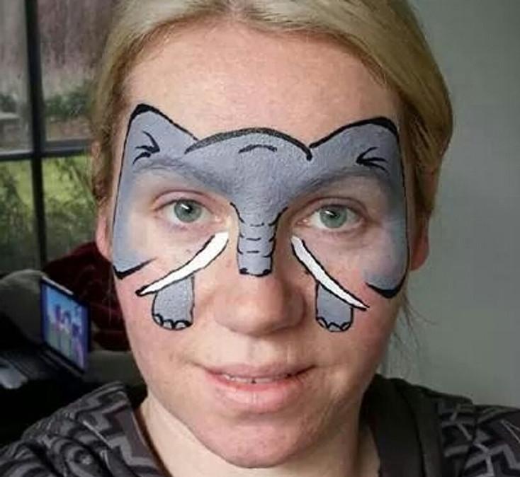 elephant face painting design idea painted by Sloane Rotondi