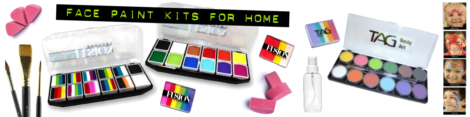 home party face paint kits banner