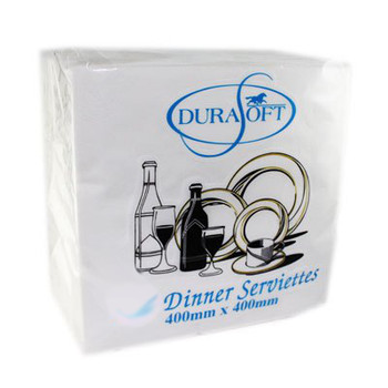Quilted White Dinner Serviettes - 2ply - 400 x 400mm - 100 Sheets