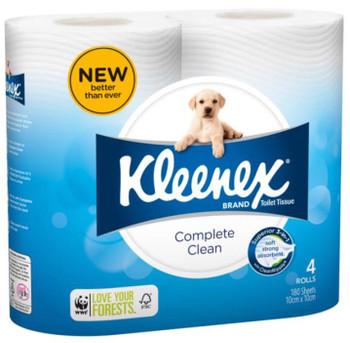 Kleenex Cottonelle Complete Clean Toilet Paper  - 180 Sheets per Roll - 60 Rolls