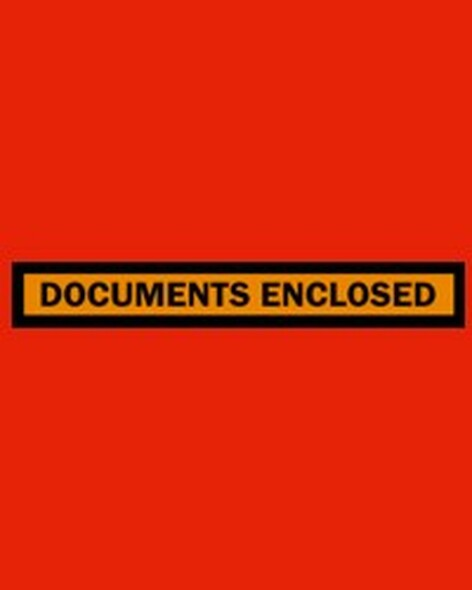 Adhesive Envelopes - DOCUMENTS ENCLOSED - 115mm x 165mm - Red - 1000/Carton