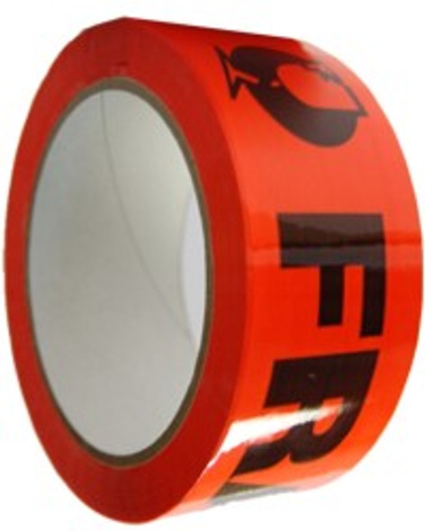 """Packing Tape - """"FRAGILE"""" - 48 mm x 66 m - 47 Um - Red - 36/Carton"""