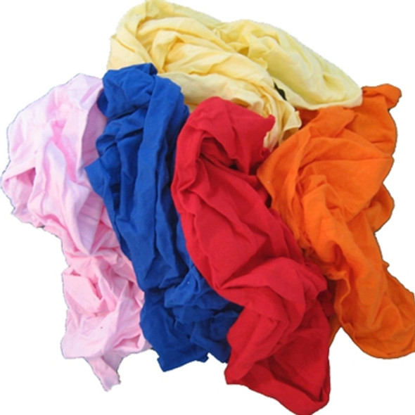 Coloured Soft Knit T-Shirt Rags - 15 kg