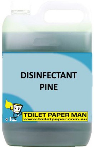 Toilet Paper Man - Disinfectant Pine - 20 Litre. A pleasant pine fragrance, which deodorises, cleans and disinfects in one action. It is a quaternary based disinfectant with excellent deodorising properties. Safe on all surfaces