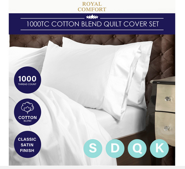 Royal Comfort 1000 Thread Count Cotton Blend Quilt Cover Set Premium Hotel Grade - Charcoal