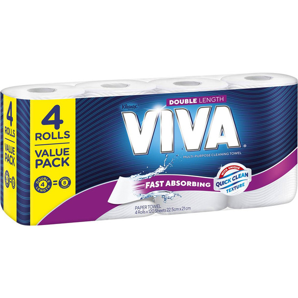 Kleenex Viva Paper Towels - Double Length - 120 Sheets/Roll - 32 Rolls of Paper Towels