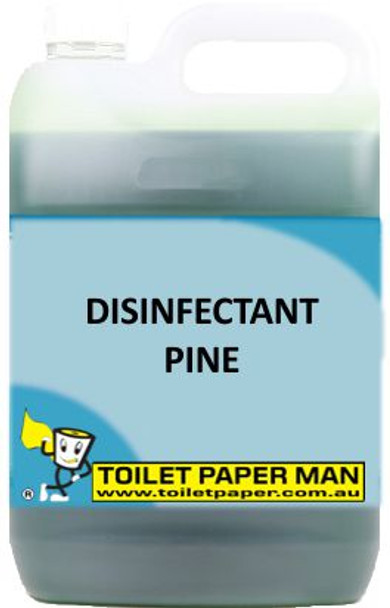 Toilet Paper Man - Disinfectant Pine - 5 Litre. A pleasant pine fragrance, which deodorises, cleans and disinfects in one action. It is a quaternary based disinfectant with excellent deodorising properties. Safe on all surfaces