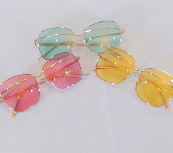 Sunglasses (All Colors) From left to right (pink, green, yellow)