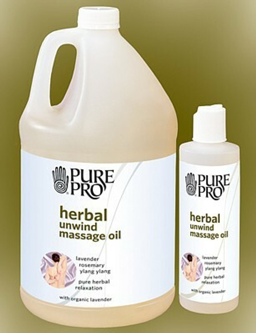 gallon and 8 oz bottles of herbal unwind oil