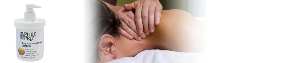 image of massage to neck and jar of deep tissue cream