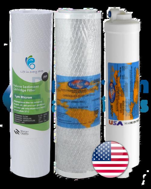 Cartridge Pack (3) Reverse Osmosis 4 Stage Undersink (Premium)