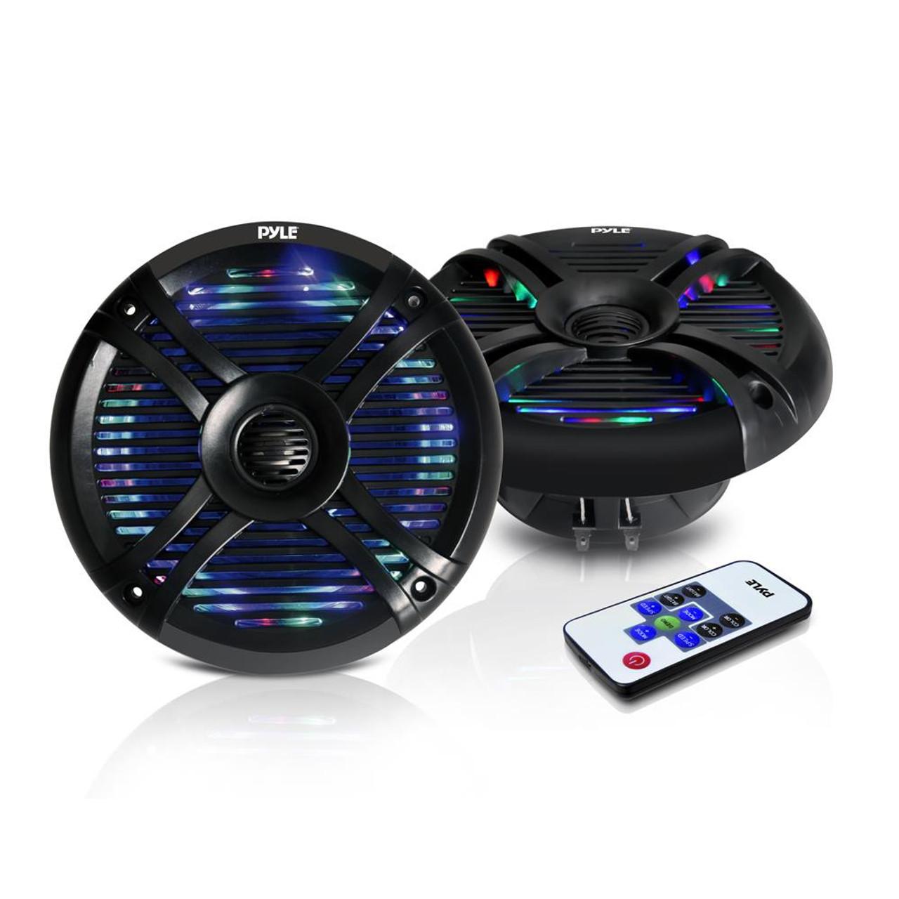 Pair Pyle 6.5/'/' Marine Waterproof Speakers Multi-Color LED Lights 150W Black