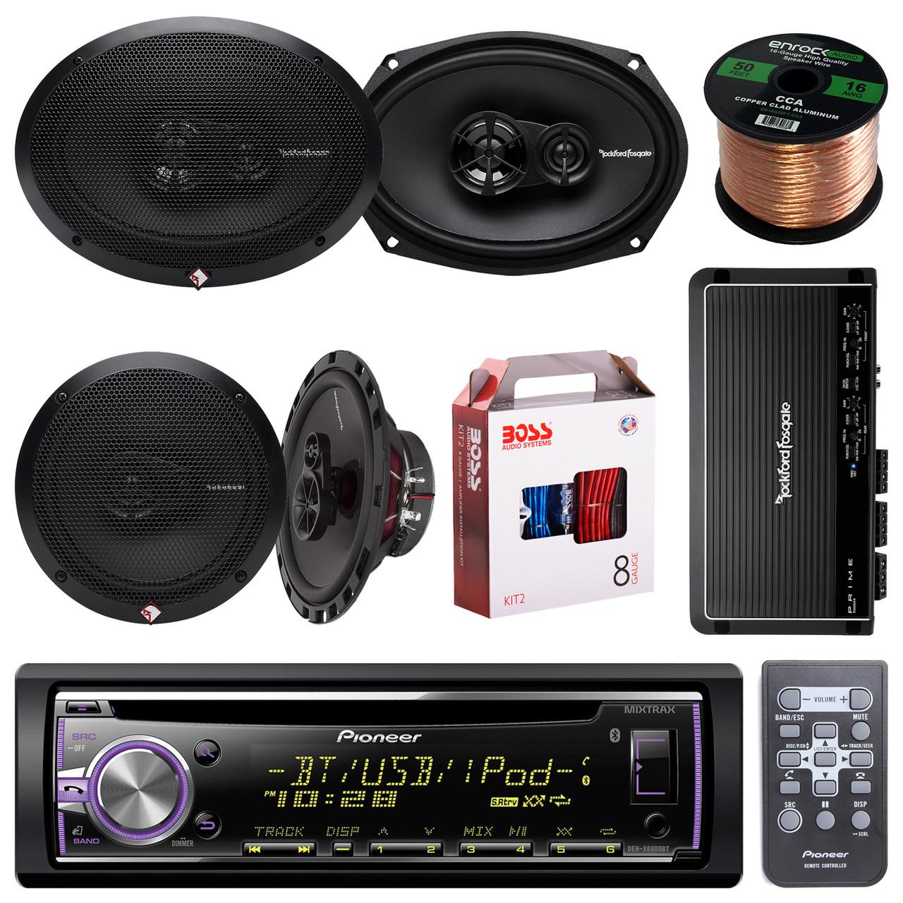 Pioneer DEHX6900BT Bluetooth Car CD Receiver Bundle Combo With 2x Rockford  Fosgate R165X3 6 5
