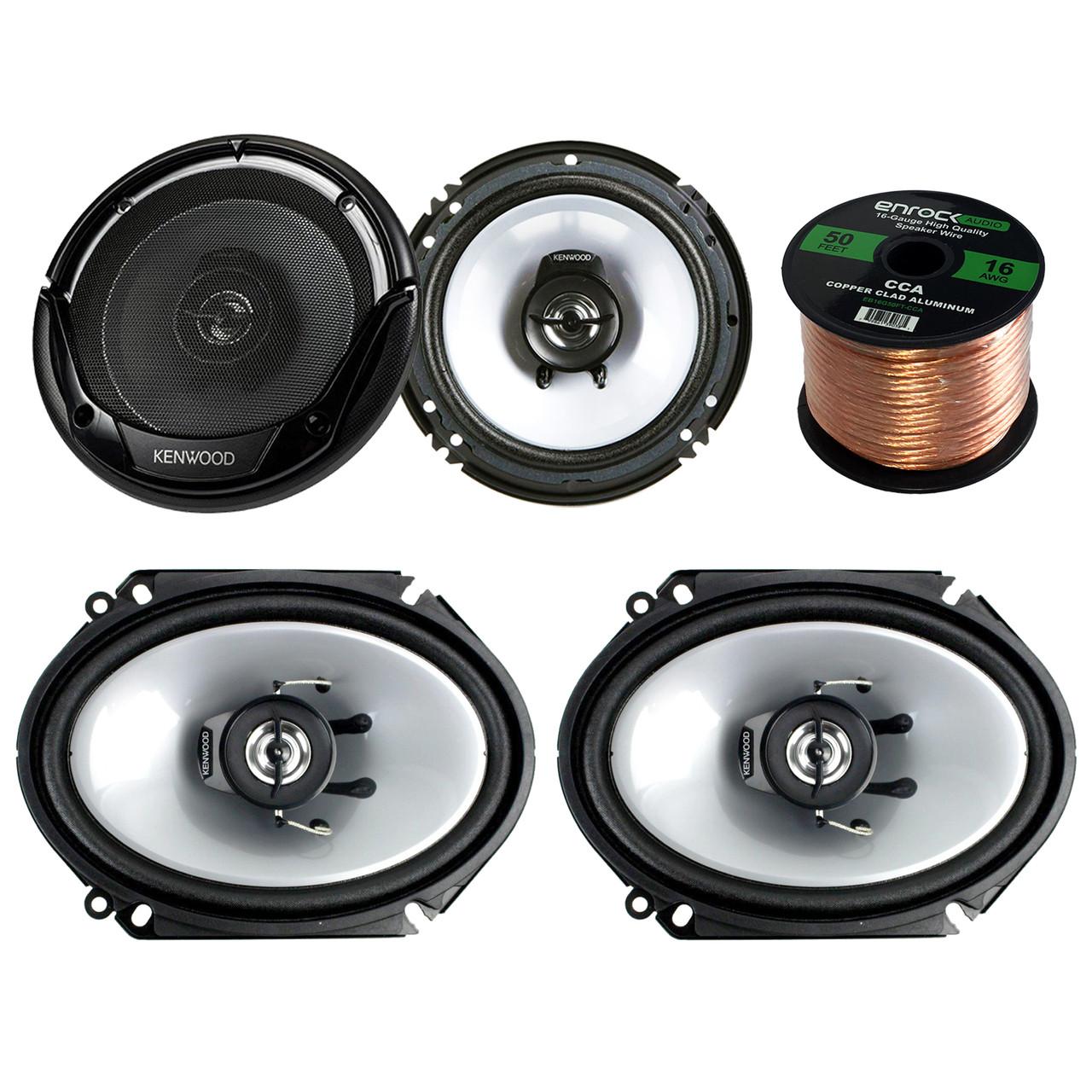 Enrock 16g 50 Ft Speaker Wire 2 Pair Car Speaker Package of 2X Kenwood KFC-C1355S 5 1//4 250-Watt 2-Way Flush Mount Coaxial Speakers 2X KFC-1665S 6 1//2 Inch 2-Way Black Dual Cone Speakers