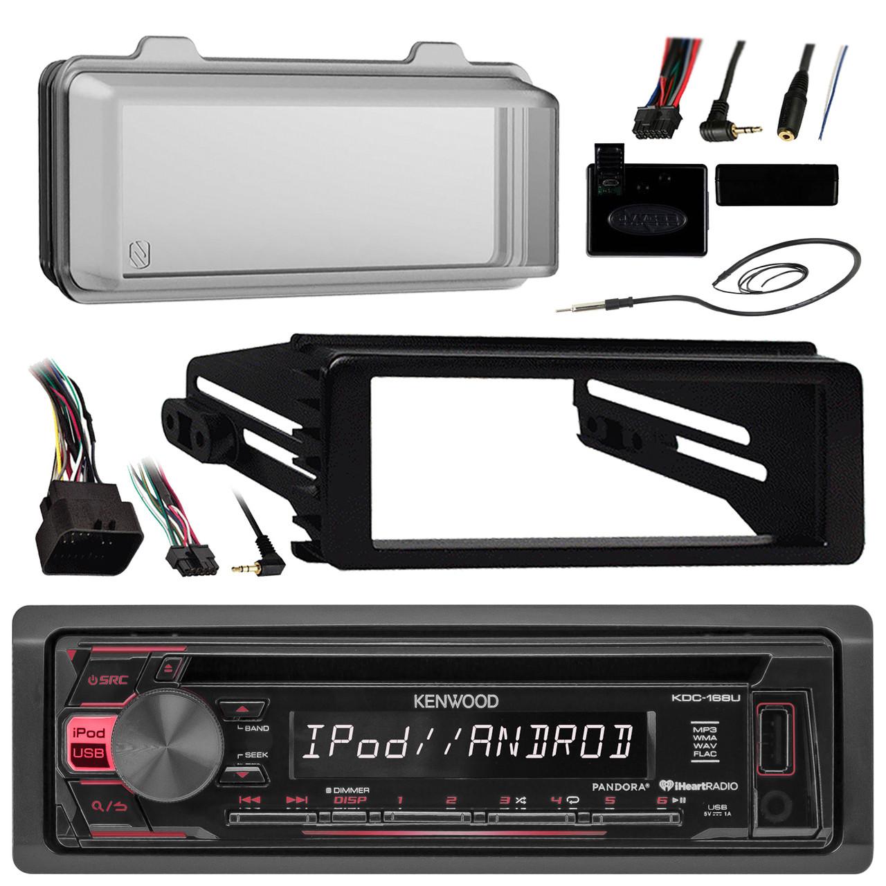 Kenwood KDC168U Radio USB AUX CD Player Receiver W/ Cover - Bundle With  Install Dash Kit + Handle Bar Control + Enrock Antenna for 98 2013 Harley