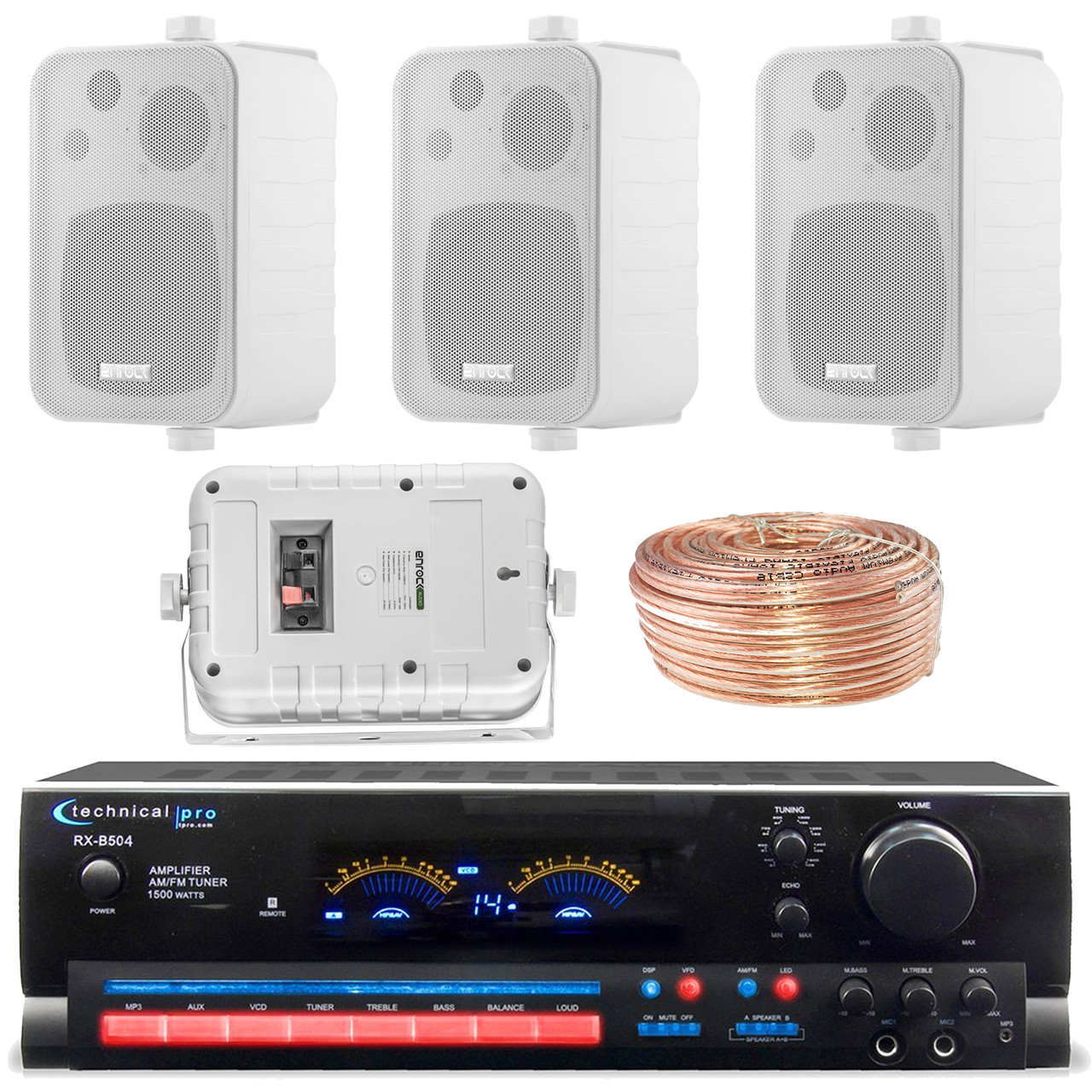 Technical Pro RX504 1500-Watt - 2-Channel - Integrated Amplifier & Pre-Amp  Stereo Receiver Amp Bundle Combo With 4x Enrock EKMR408W 4