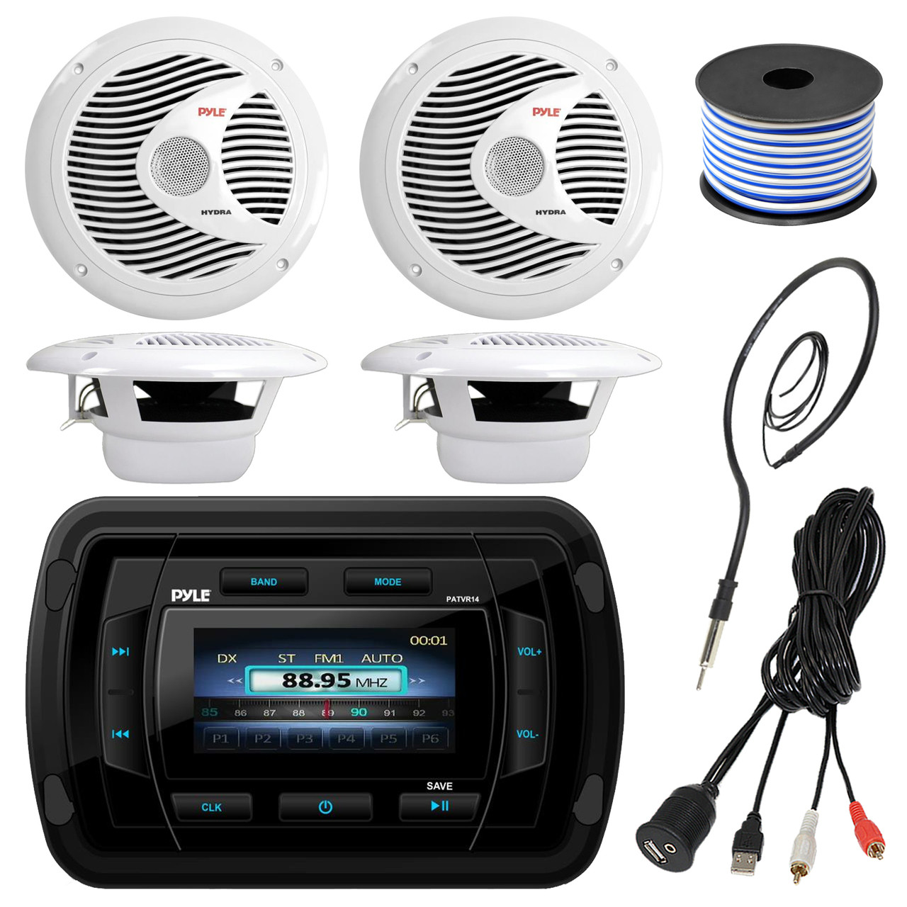 pyle patvr14 mp3/mp5 bluetooth marine boat yacht stereo receiver bundle  combo with 4x white 6-1/2'' dual cone waterproof stereo speaker + enrock  radio