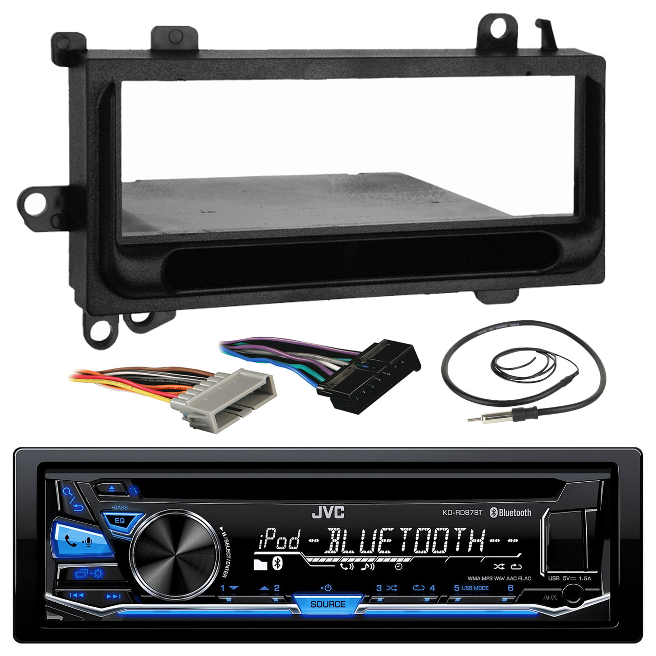 JVC KD-RD87BT Bluetooth iPod Android USB/MP3/WMA CD Player Stereo Receiver, on usb wiring, ipod phone, ipod audio cable,